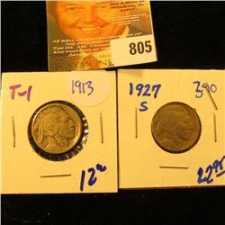 1913 Type 1 Buffalo Nickel Plus 1927-S Buffalo Nickel