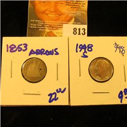 1948-S Roosevelt Dime And 1853 Seated Dime With Arrows