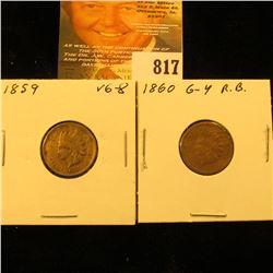 1859 & 1860 U.S. Indian Head Cents.
