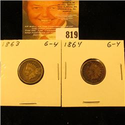 1863 & 1864 Copper-nickel U.S. Indian Head Cents.