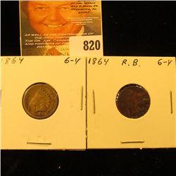 1864 Copper-nickel & Bronze U.S. Indian Head Cents.