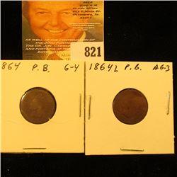 1864 & 1864 L Bronze U.S. Indian Head Cents.
