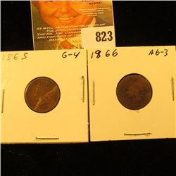 1865 & 1866 U.S. Indian Head Cents.