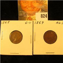 1868 & 1869 U.S. Indian Head Cents.