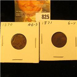 1870 & 1871 U.S. Indian Head Cents.