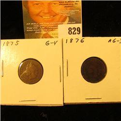 1875 & 1876 U.S. Indian Head Cents.