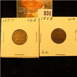 1857 & 1858 Large Letters U.S. Flying Eagle Cents.