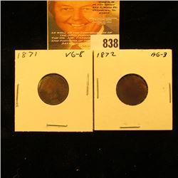 1871 & 1872 U.S. Indian Head Cents.