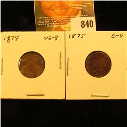 1874 & 1875 U.S. Indian Head Cents.