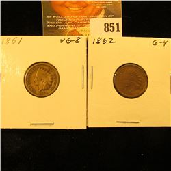 1861 & 1862 U.S. Indian Head Cents.