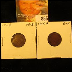 1868 & 1869 U.S. Indian Head Cents.