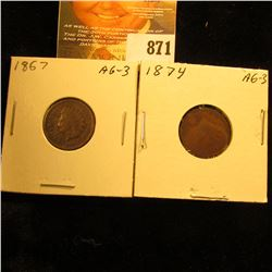 1867 & 1874 U.S. Indian Head Cents.
