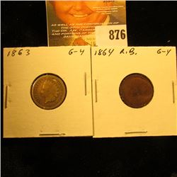 1863 Copper-nickel & 1864 Bronze Round Bust U.S. Indian Head Cents.