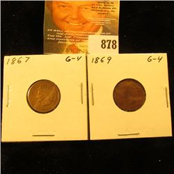 1867 & 1869 U.S. Indian Head Cent. Good.