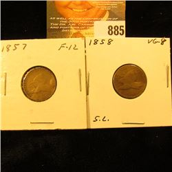 1857 & 1858 Small Letters U.S. Flying Eagle Cents.