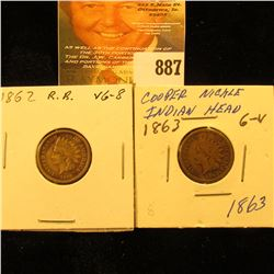 1862 & 1863 Copper-nickel U.S. Indian Head Cents.