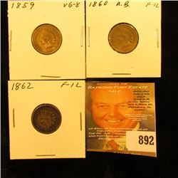 1859, 1860, & 1862 Copper-nickel U.S. Indian Head Cents.