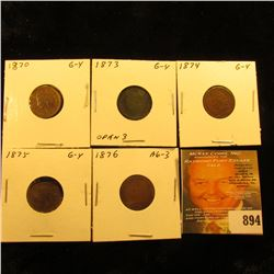 1870, 1873 Open 3, 1874, 1875, & 1876 U.S. Indian Head Cents.