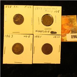 1858 SL U.S. Flying Eagle Cent; 1859 CN, 1863 CN, & 1864 Bronze U.S. Indian Head Cents.