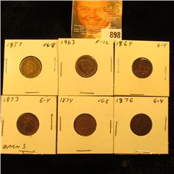 1859, 1863, 1864 Bronze, 1873 open 3, 1874, & 1876 U.S. Indian Head Cents.