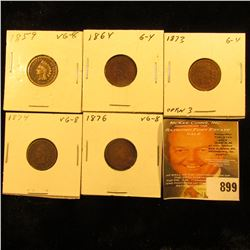 1859, 1864 Bronze, 1873 open 3, 1874, & 1876 U.S. Indian Head Cents.