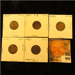 1859 Fine, 1860, 1863, 1864 Bronze, & 1865 Fancy Five U.S. Indian Head Cents.