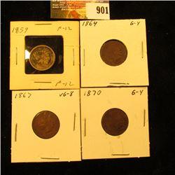 1859, 1864 Bronze, 1867, & 1870 U.S. Indian Head Cents.