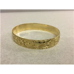 14 KT YELLOW GOLD ORNATE ENGRAVED BANGLE