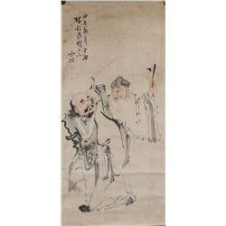 Song Rui Chinese Watercolour Monk and Taoist