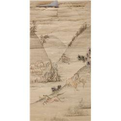 16th-18th C. Chinese Artist Watercolour Scroll