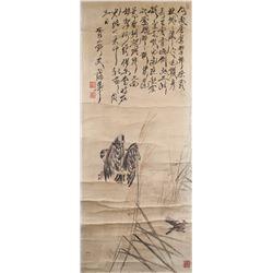 Pu Hua 1832-1911 Chinese Watercolour Eagles