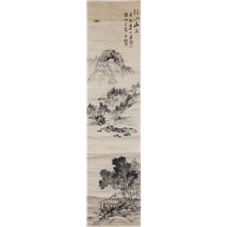 Unknown Artist Chinese Ink Landscape Paper Scroll