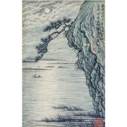 Tao Weihong b.1940 Chinese Watercolour Night Scene