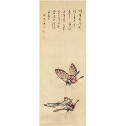 Puru 1896-1963 Chinese Watercolour Bufferflies