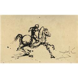 Salvador Dali 1904-1989 Spain Ink Study Knight