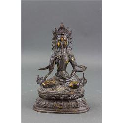 Chinese Bronze Vajrasattva Statue Thunderbolt Mark