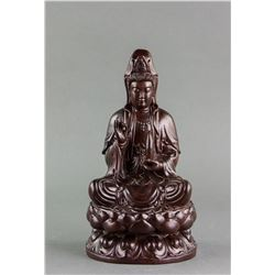 Chinese Zitan Wood Carved Guanyin Statue