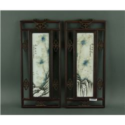 Pair of Chinese Porcelain Panels Xu Zhongnan Mark