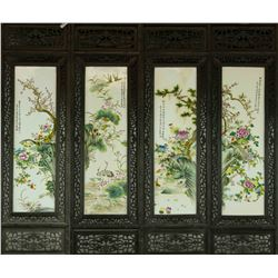 4 Pieces Porcelain Plaques Liu Yucen Zhushan Bayou