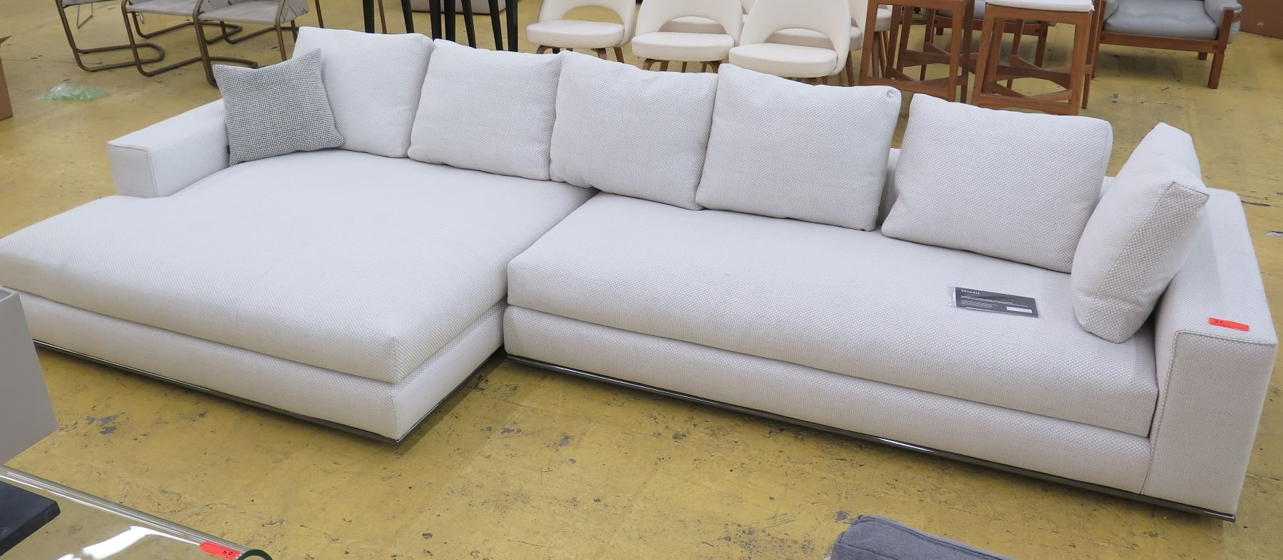 Miraculous White Beige Woven Minotti Sectional Sofa 2 Sections 143 Caraccident5 Cool Chair Designs And Ideas Caraccident5Info