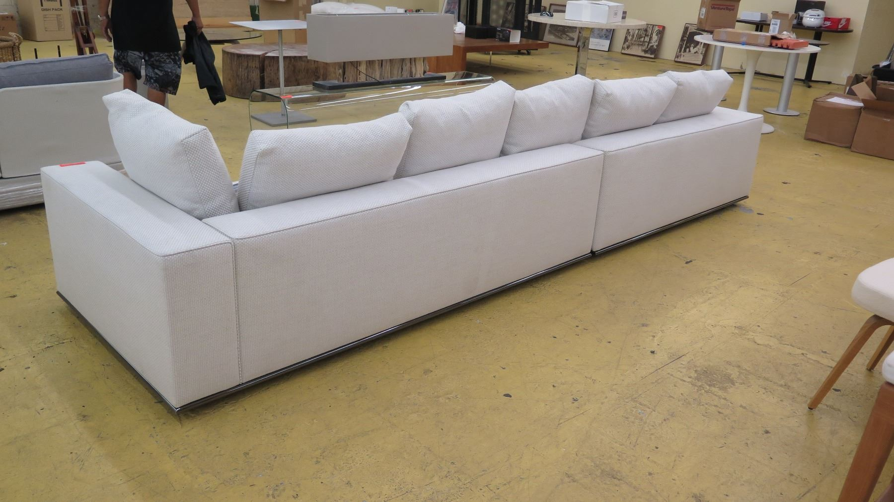 Excellent White Beige Woven Minotti Sectional Sofa 2 Sections 143 Machost Co Dining Chair Design Ideas Machostcouk