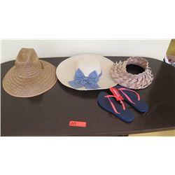 Props: 3 Misc. Hats, Blue Havaianas Rubber Sandals