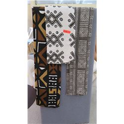 Qty 3 Ethnic Print Woven Throws, Medium Weight (was used in staging)