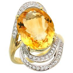 Natural 11.2 ctw citrine & Diamond Engagement Ring 14K Yellow Gold - REF-95Z8Y