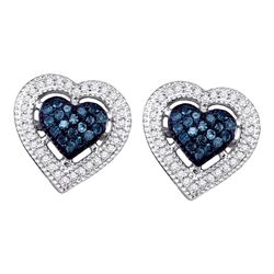 0.40 CTW Blue Color Diamond Heart Love Screwback Earrings 10KT White Gold - REF-30W2K