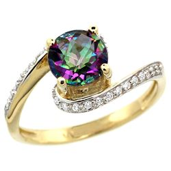 Natural 1.24 ctw mystic-topaz & Diamond Engagement Ring 10K Yellow Gold - REF-42M9H