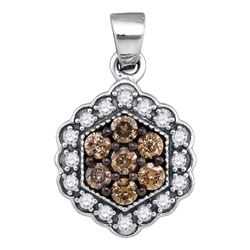 0.45 CTW Cognac-brown Color Diamond Hexagon Flower Pendant 10KT White Gold - REF-22H4M