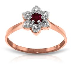 Genuine 0.23 ctw Ruby & Diamond Ring Jewelry 14KT Rose Gold - REF-30A6K