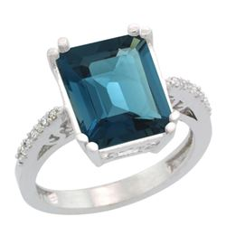 Natural 5.48 ctw London-blue-topaz & Diamond Engagement Ring 14K White Gold - REF-53N3G