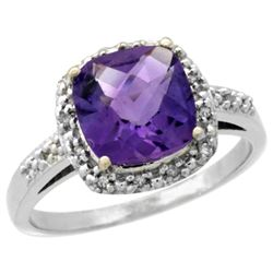 Natural 3.92 ctw Amethyst & Diamond Engagement Ring 14K White Gold - REF-35N2G
